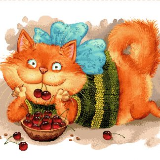 гобелен Баловни (кот с вишнями)