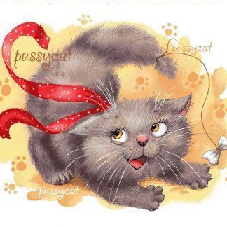 гобелен Баловни (котенок с ленточкой)