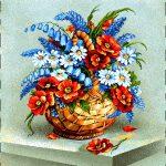 гобелен Букет в корзине (Красные цветы)