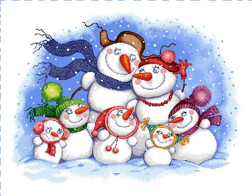 гобелен Семейство снеговичков