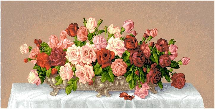 гобеленовая картина Цветы в серебряной вазе