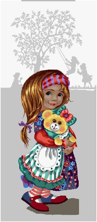 гобелен Девочка с мишкой