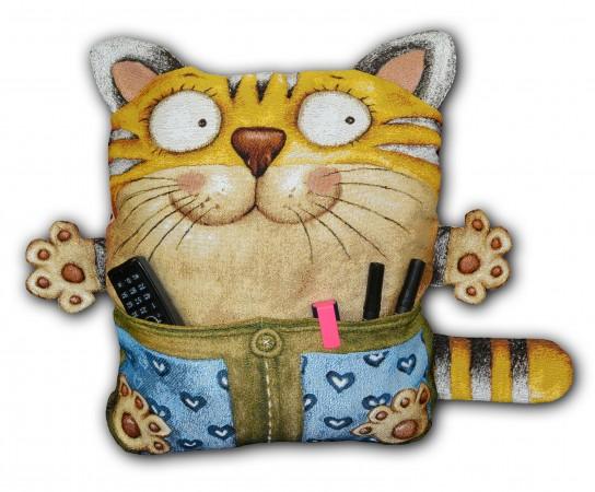 гобеленовая подушка с наполнителем Кот с карманом