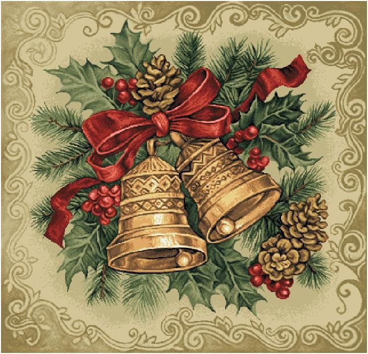 салфетка гобеленовая Рождественские колокольчики