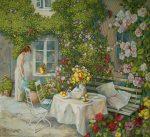 гобелен цветущий сад