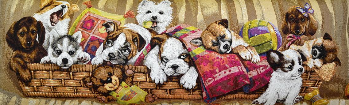 Игривые щенки в корзине (35х85)