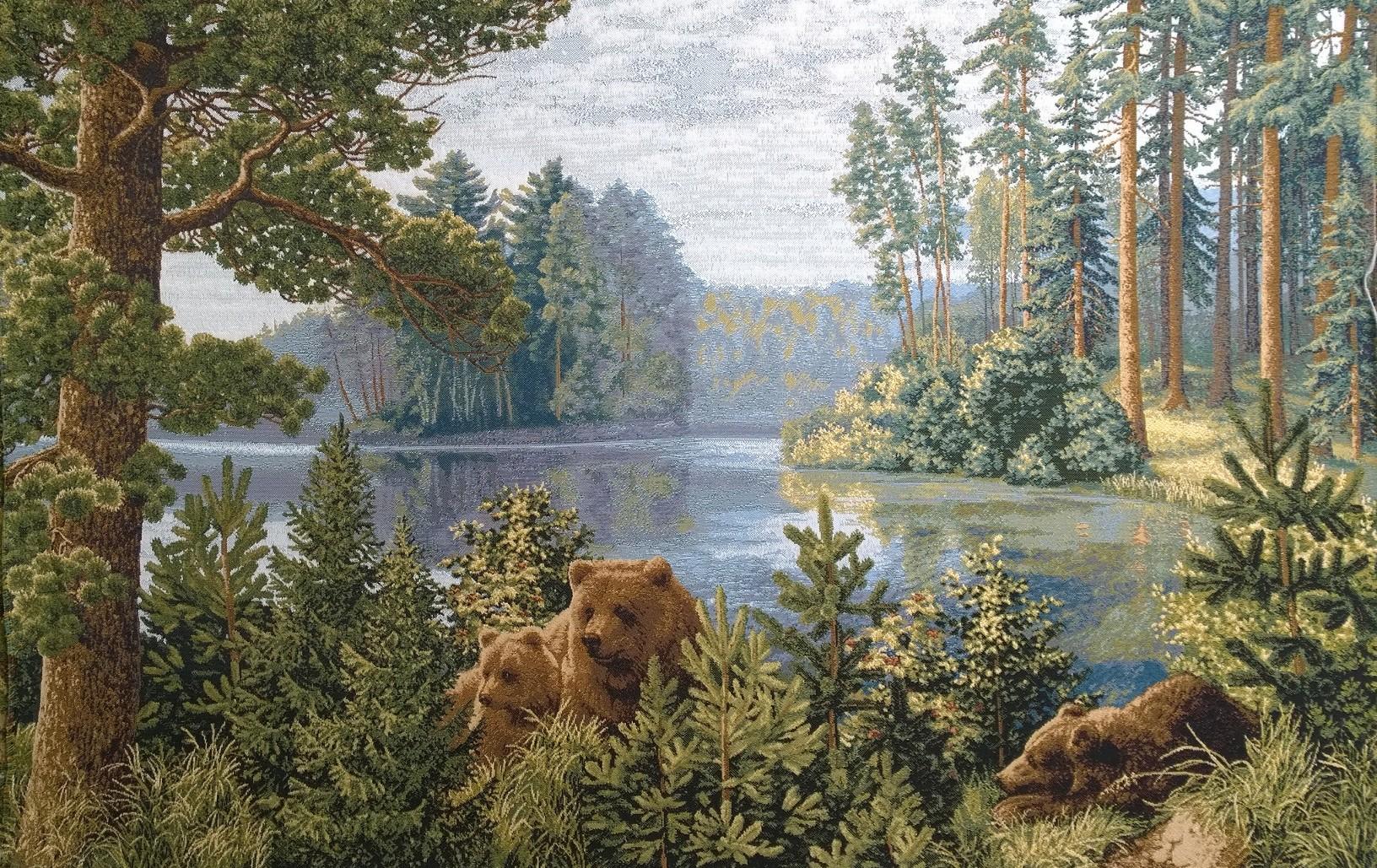 гобелен бор у озера