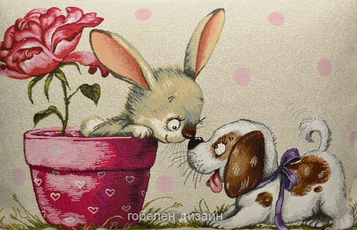Гобелен Баловни Зайчик и щенок (45х63)