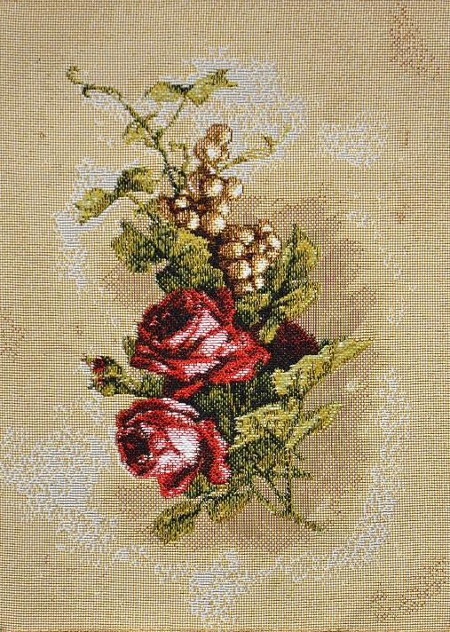 Гобелен бутоньерка (красные розы)_17х25