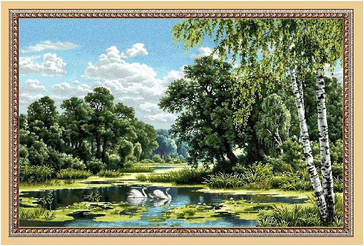 Гобелен пейзаж с лебедями