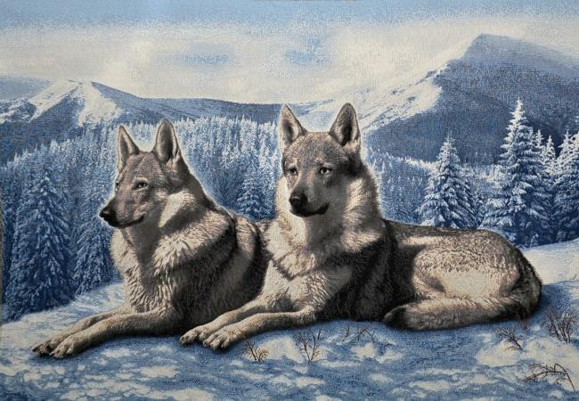Гобелен волки на снегу