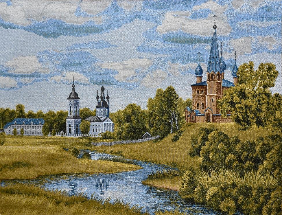 Гобелен белая и красная церковь