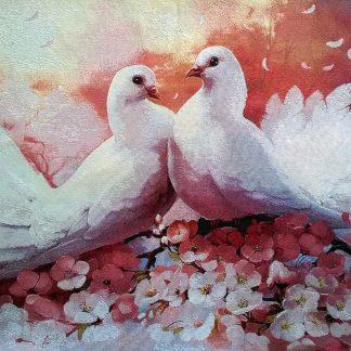 Гобелен белые голуби