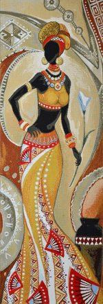 Гобелен африканка с цветком