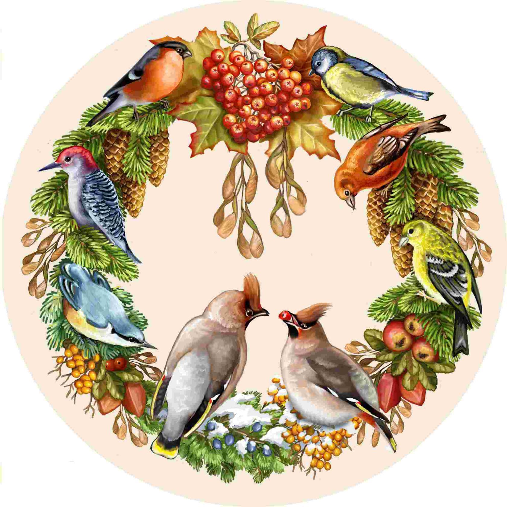 Гобелен зимняя птица