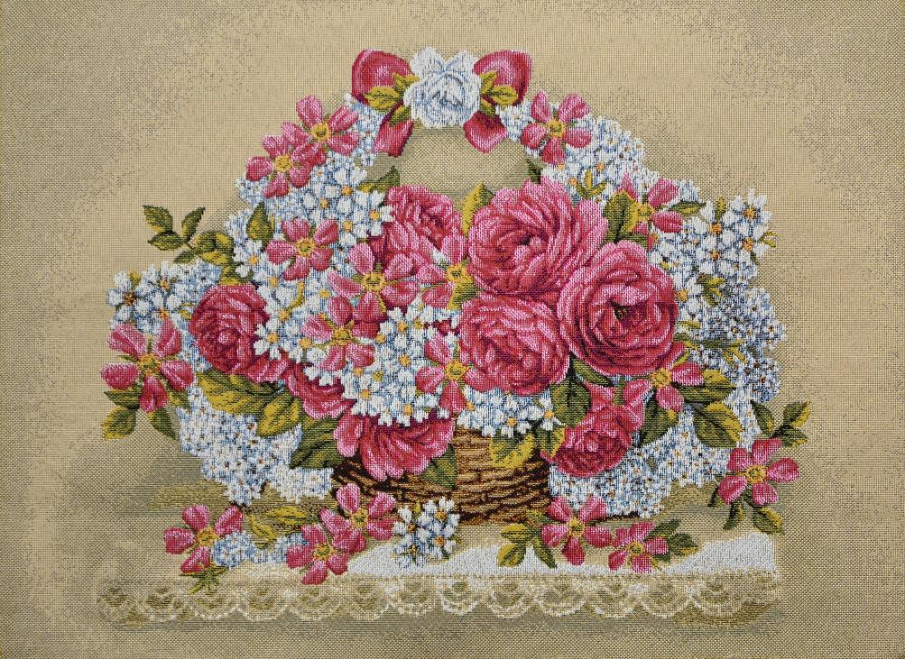 Гобелен праздничная корзина розы