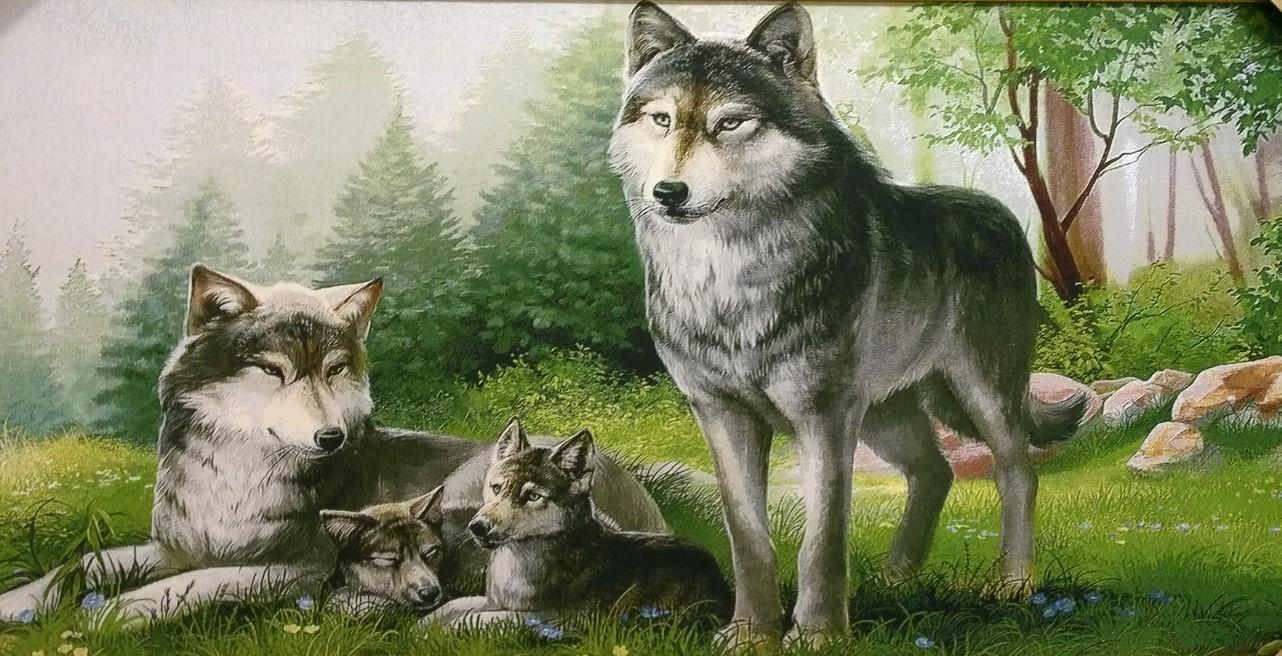 Гобелен волчья семья