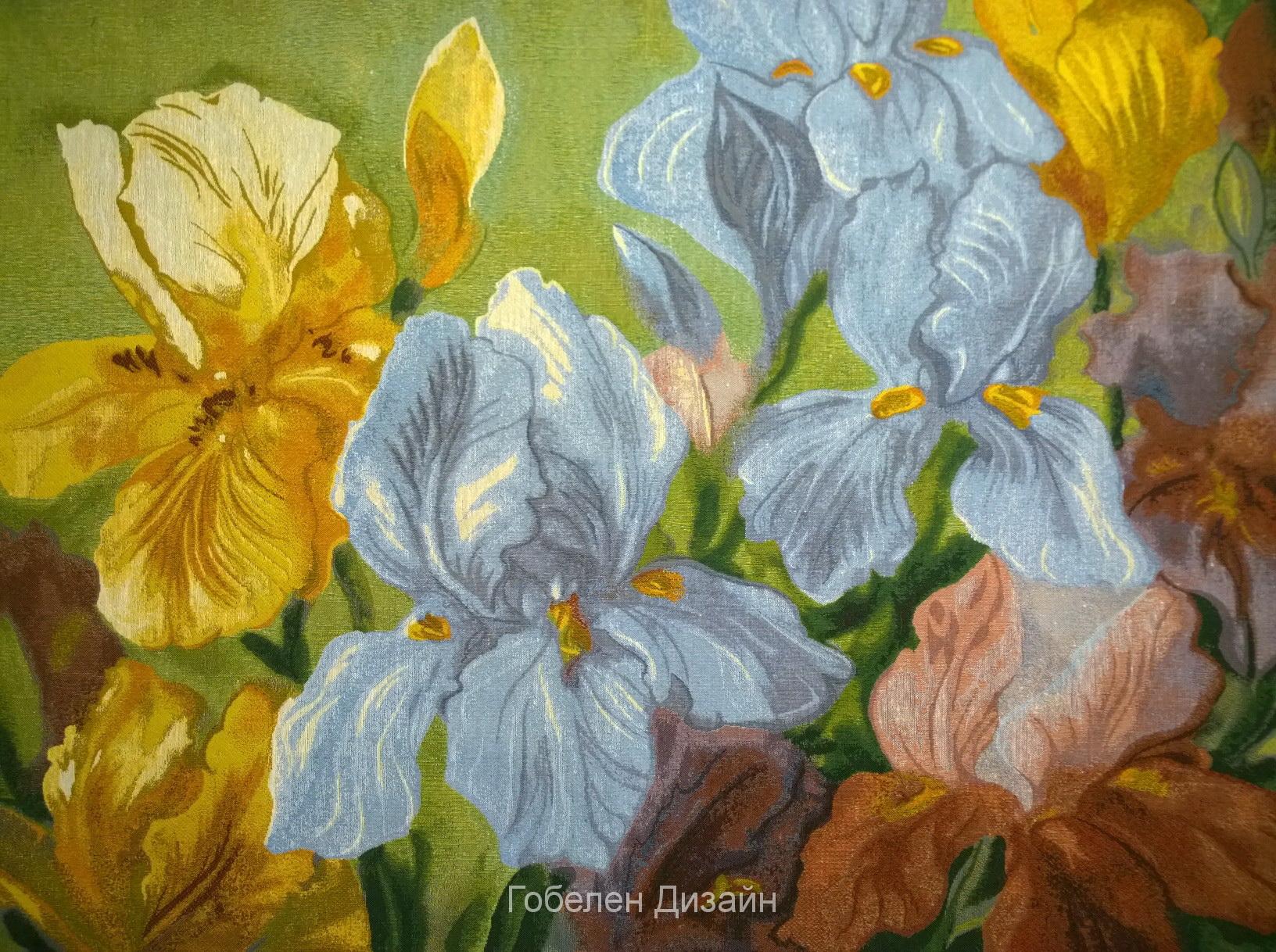 купить картину гобеленовую цветущие ирисы