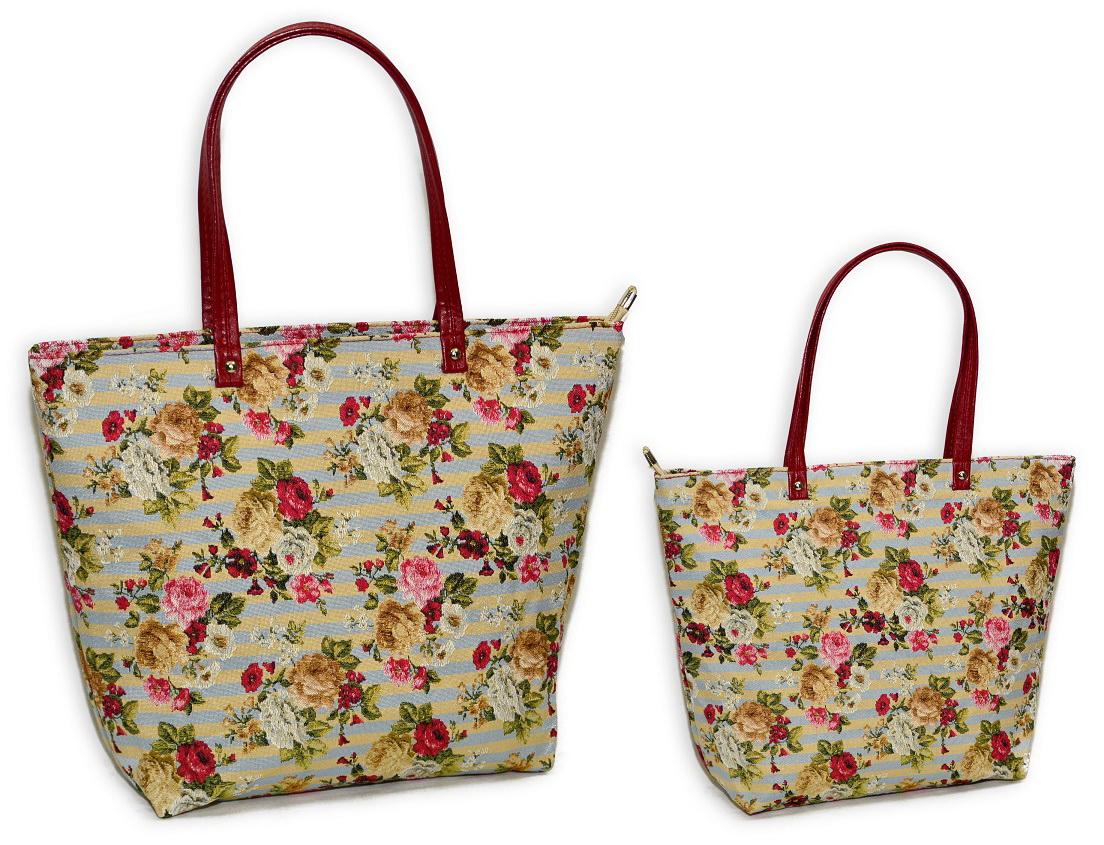 купить гобеленовую сумку шоппер розы на голубом