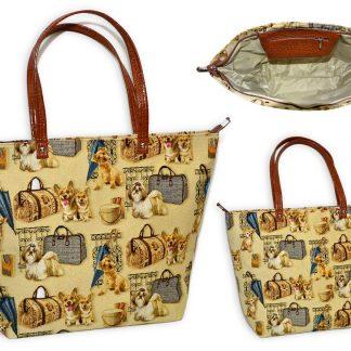 Сумка гобеленовая шоппер собачки с сумочками