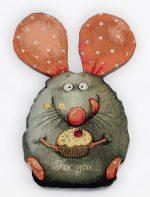 Гобелен мышонок с кексом подушка_25х35