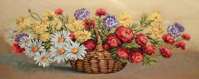 Гобелен хризантемы в корзине