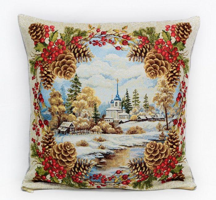 Гобеленовая наволочка зимняя сказка