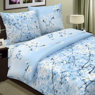 Комплект постельного белья поплин сакура голубой