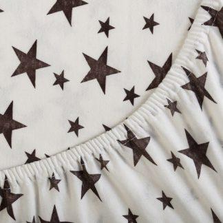 Трикотажная простынь на резинке звезды белый